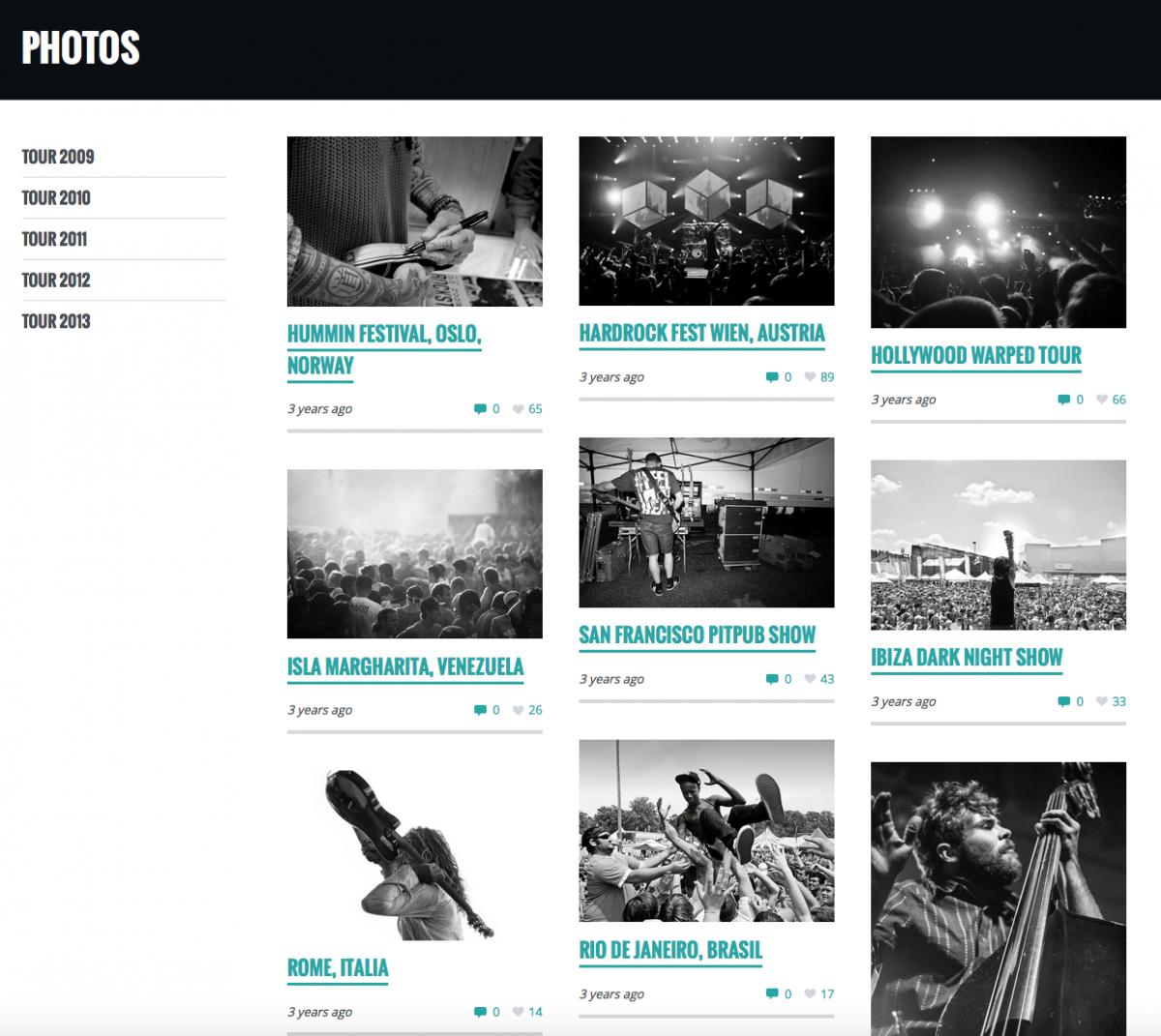 Gérer vos photos de concerts - Site web pour musicien, groupe